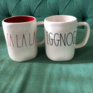 Rae Dunn Fa la la and eggnog mugs